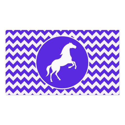 Caballo en Chevron violeta azul; Ecuestre Tarjeta De Visita