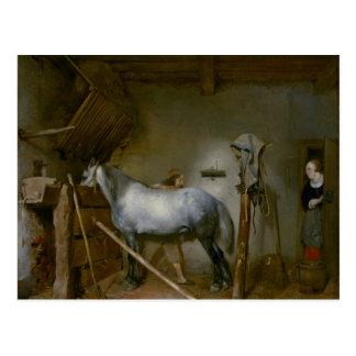 Caballo en un establo, c.1652-54 (aceite en el postal