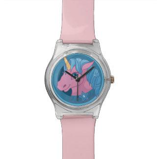 Caballo lindo del unicornio del dibujo animado del reloj de pulsera