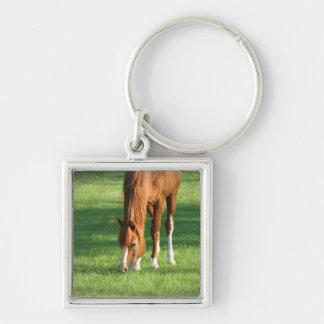 caballo llavero cuadrado plateado