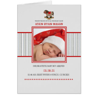 Caballo mecedora - nacimiento doblado foto Announc Tarjeta De Felicitación