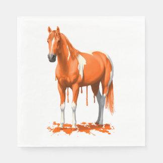 Caballo mojado de la pintura del goteo anaranjado servilletas desechables