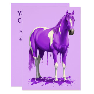 Caballo mojado de la pintura del goteo púrpura invitación 8,9 x 12,7 cm