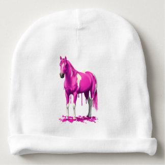 Caballo mojado de la pintura del goteo rosado gorrito para bebe