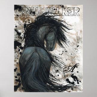 Caballo negro frisio majestuoso del semental por póster