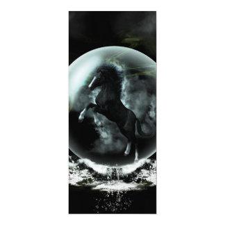 Caballo negro hermoso en una burbuja invitación 10,1 x 23,5 cm