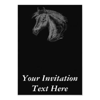 Caballo:  Negro Invitación 12,7 X 17,8 Cm