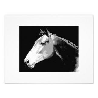 Caballo negro y blanco invitación personalizada