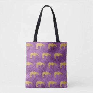 Caballo occidental de la textura de oro púrpura de bolsa de tela