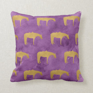 Caballo occidental de la textura de oro púrpura de cojín decorativo