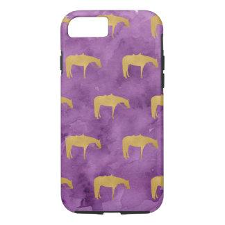 Caballo occidental de la textura de oro púrpura de funda iPhone 7