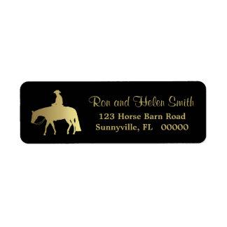 Caballo occidental de oro del placer en negro etiquetas de remite