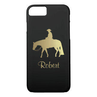 Caballo occidental de oro del placer en negro funda iPhone 7