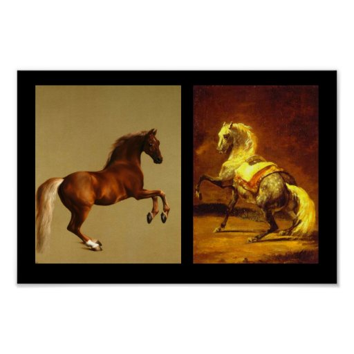 CABALLO ROJO Y CABALLO DAPPLED GRIS POSTERS
