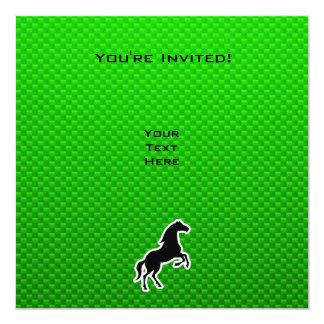 Caballo verde invitación 13,3 cm x 13,3cm