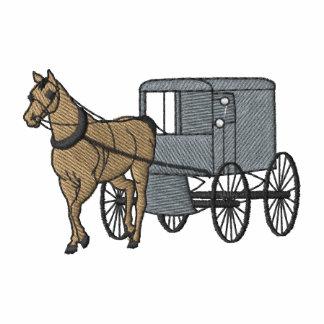 Caballo y carro de Amish Sudadera Bordada Con Cremallera De Mujer