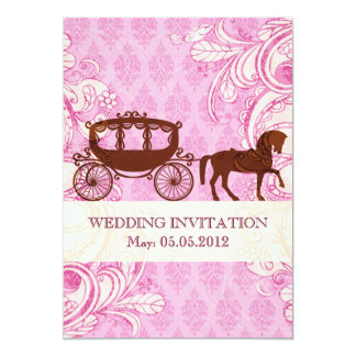 Caballo y carro del boda - el boda invita invitación 12,7 x 17,8 cm