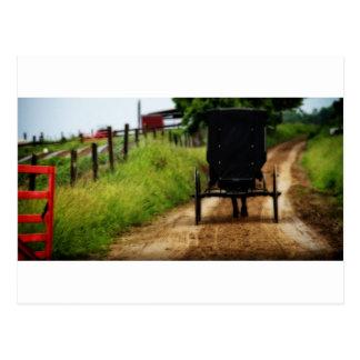 Caballo y cochecillo de Amish Postal