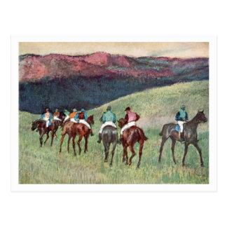Caballos de carreras en un paisaje de Edgar Degas Postal