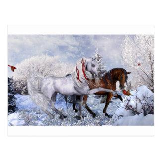 Caballos del día de fiesta del navidad postal