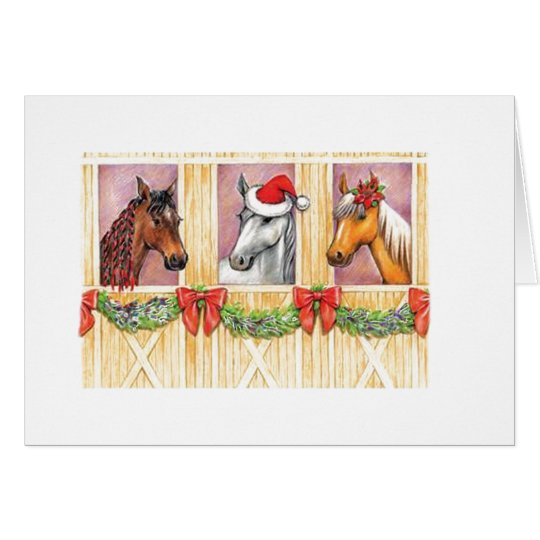caballos del día de fiesta tarjeta de felicitación