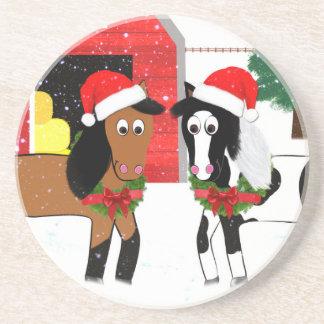 Caballos del navidad posavasos de arenisca