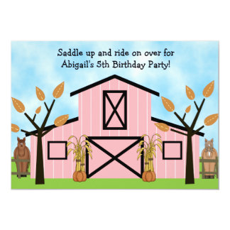 Caballos del otoño e invitación rosada del