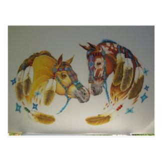 Caballos en dúo en colores pastel postal