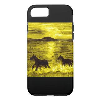 Caballos en una costa de oro funda iPhone 7