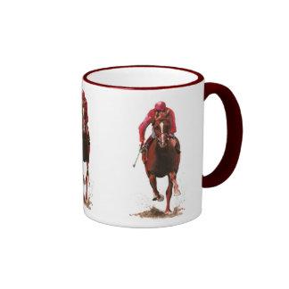 caballos, hombre del jinete taza