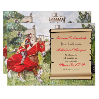 Caballos Jousting de la invitación medieval del