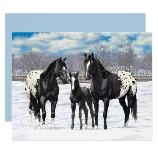 Caballos negros del Appaloosa en nieve Invitación 10,8 X 13,9 Cm