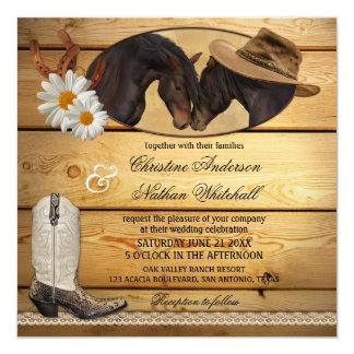 Caballos occidentales del país rústico que casan invitación 13,3 cm x 13,3cm