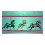 Caballos pintados carrusel púrpura azul del trullo plantilla de tarjeta personal