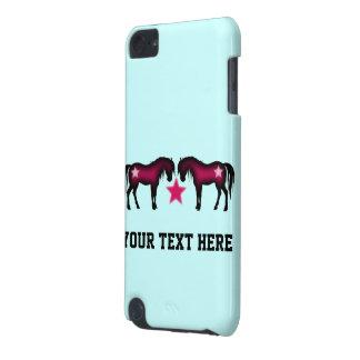 Caballos rosados lindos en azul funda para iPod touch 5