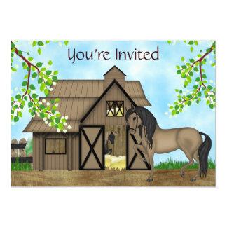 Caballos y chicas bonitos del ~ de la invitación invitación 12,7 x 17,8 cm