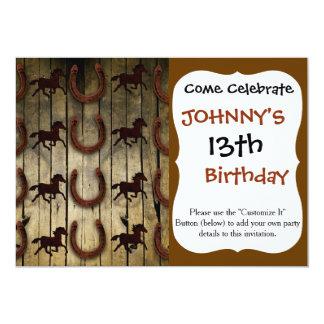 Caballos y herraduras en los regalos de madera del invitación 12,7 x 17,8 cm