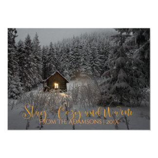 Cabaña de madera acogedora y caliente de la invitación 12,7 x 17,8 cm