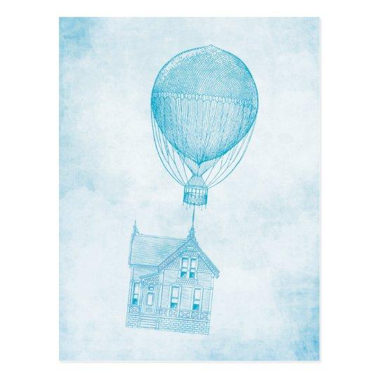 Cabaña móvil del globo azul del aire caliente del postal