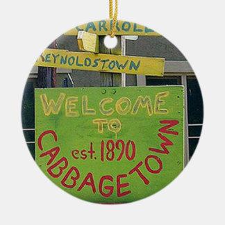 Cabbagetown, Atlanta, Georgia, ornamento del Adorno Navideño Redondo De Cerámica