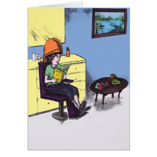 Cabello seco en un salón de belleza tarjeta de felicitación