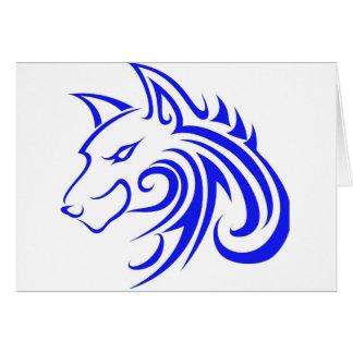 Cabeza azul del lobo tarjeta de felicitación
