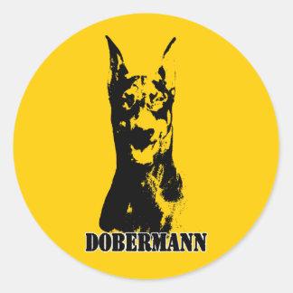 Cabeza de Dobermann Etiquetas Redondas
