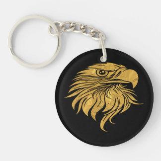 Cabeza de Eagle de oro Llavero Redondo Acrílico A Doble Cara