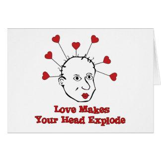Cabeza de estallido del amor tarjeta de felicitación