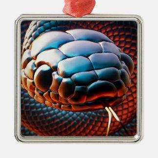 Cabeza de la serpiente adorno navideño cuadrado de metal