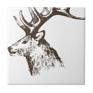 Cabeza de los ciervos azulejo cuadrado pequeño