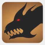 Cabeza de los dragones calcomanía cuadradas personalizada
