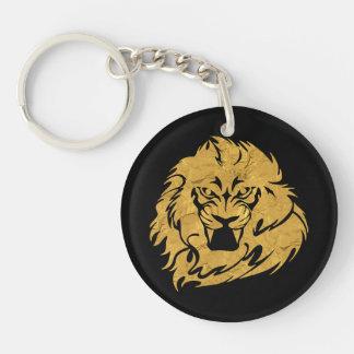 Cabeza de oro del león llavero redondo acrílico a doble cara
