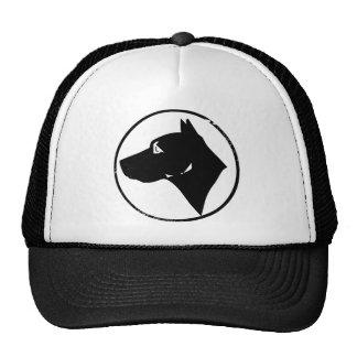 Cabeza de perro en un círculo gorras de camionero